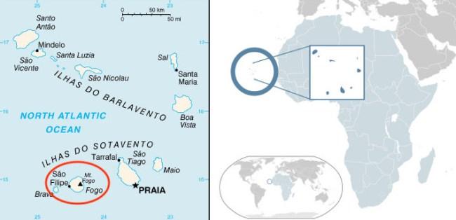Mappa dell'arcipelago di Capo Verde e la posizione dell'Isola Fogo