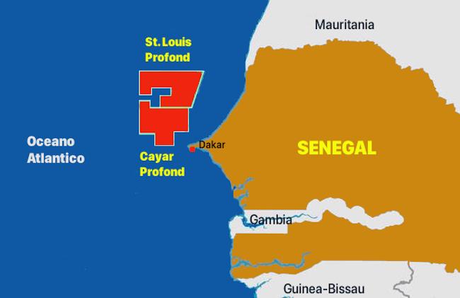 In rosso i giacimenti di idrocarburi offshore in Senegal