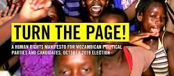 """Dettaglio della copertina del dossier sul Mozambico """"Turn The Page""""-Voltare pagina (Courtesy Amnesty International)"""