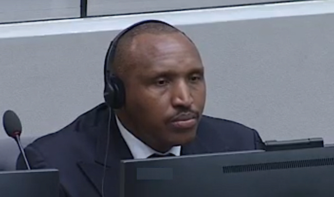 Bosco Ntaganda nell'aula della Corte Penale Internazionale (Courtesy CPI)