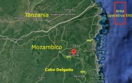 Mappa del nord del Mozambico con il punto dell'imboscata jihadista e l'area di sfruttamento LNG ENI (Courtesy Google Maps)