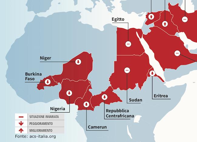 Mappa che mostra la situazione della minoranza cristiana in Africa Sub-sahariana
