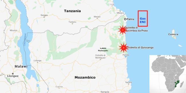Mappa di Cabo Delgado che indica gli scontri tra Forze armate mozambicane e jihadisti