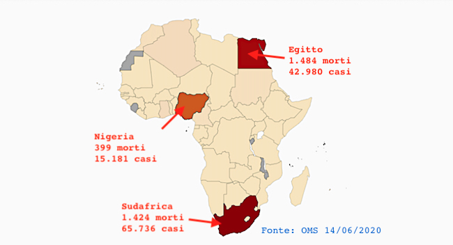 I tre maggiori Paesi africani colpiti da Covid-19: Sudafrica, Egitto e Nigeria