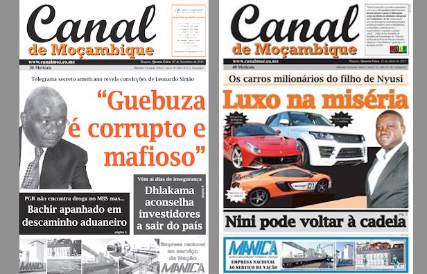 Due copertine di Canal de Moçambique con le inchieste sull'ex presidente Guebuza e il figlio dell'attuale capo di Stato, Nyusi