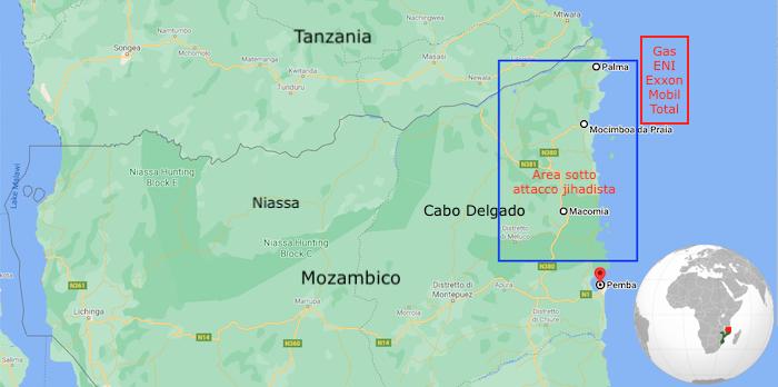 Mappa di Cabo Delgado . Evidenziate le aree di attacco jihadista e il giacimento di gas offshore (Courtesy GoogleMaps)
