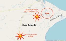 Mappa dell'area degli ultimi attacchi vicini ai giacimenti di gas dove operano Total, ENI, ExxonMobil