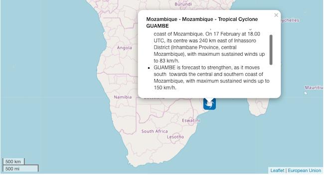 Guambe mappa Africa meridionale UE