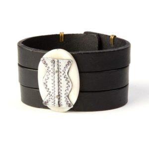 Black Leather Bracelet  5f8834637