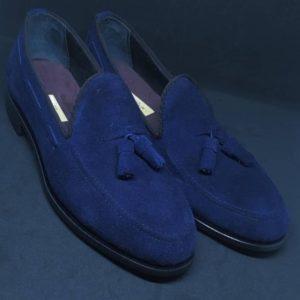 5507bf5773c Blue Suede Tassel Loafers for Men