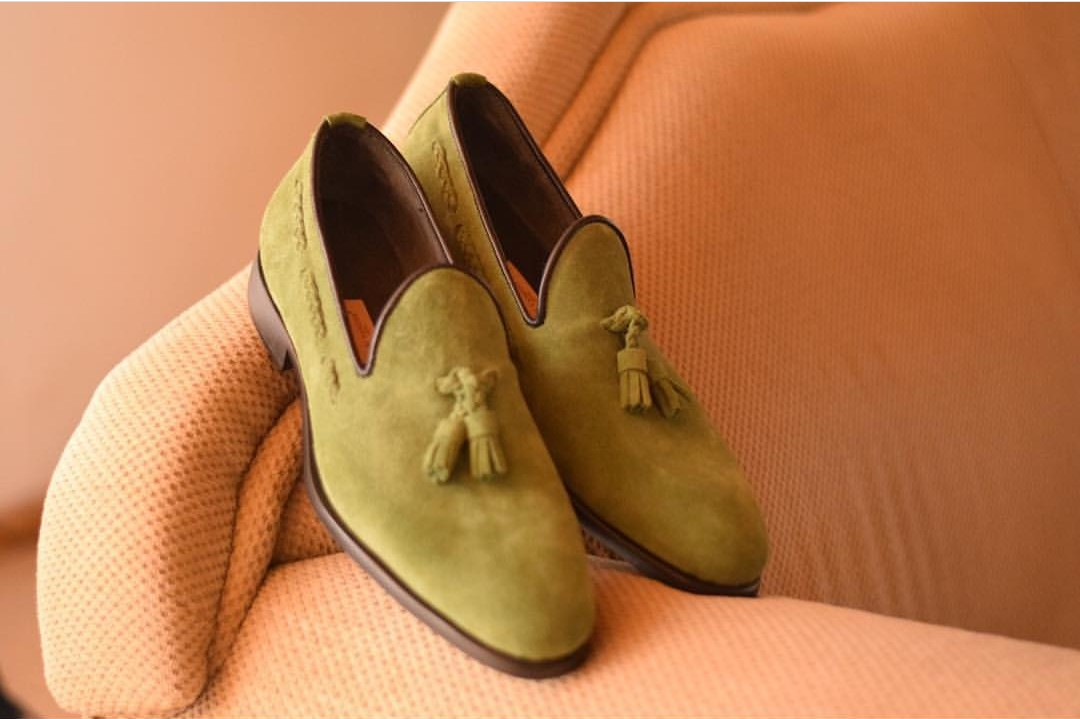 259ba0b8a7d Olive Mens Dress Shoes for Wedding - Mens Fashion Tassel Loafers Shoes -  AFRICABLOOMS