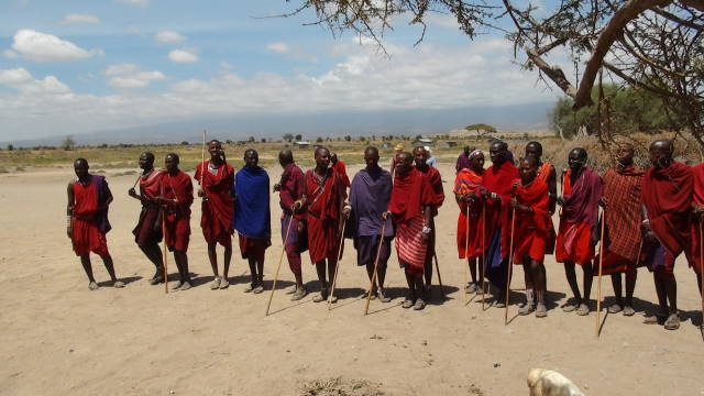 The Maasai Warriors dressed in their traditional dress.