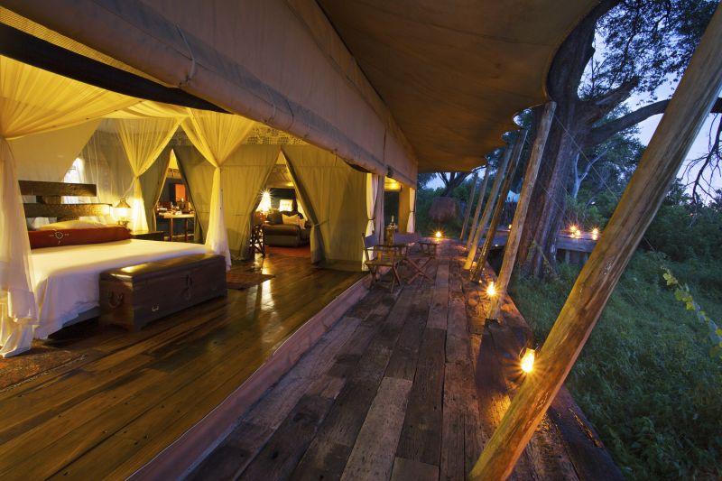 Luxury bedroom with a view over the Okavango Delta.