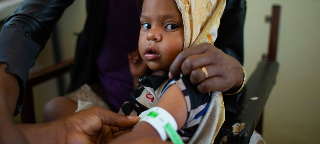 A child is screened for malnutrition at a health centre in Tigray, Ethiopia.