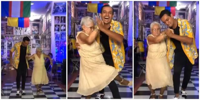 Stunning video as old woman drops walking aid to dance with young man, steals show with footworks