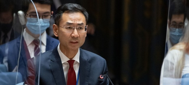 Ambassador Geng Shuang of China addresses the Security Council meeting on the situation in Afghanistan.