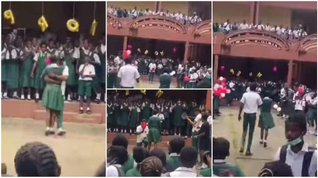 Secondary school student show love, boy kneels down for girl viral video, Nigerians react
