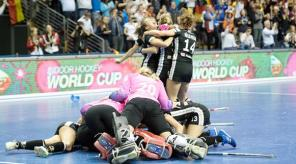 Joyous scenes as Germany win the 5th Women's Indoor Hockey World Cup 2018 in Berlin. Credit: FIH / World Sport Pics