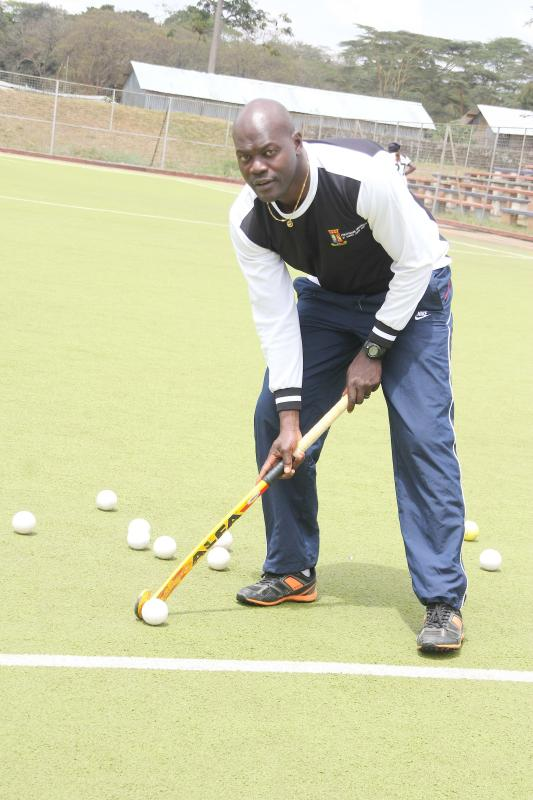 Hockey coachJ Meshack Senge in the field at citypark. ON 18/08/14 [ PHOTO: JENIPHER WACHIE]
