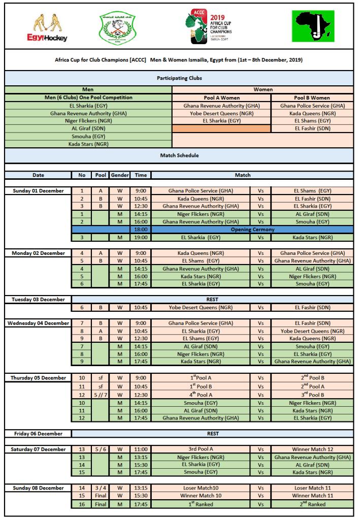 ACCC 2019 M/W Final Match Schedule