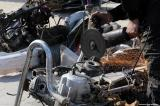 Palestinian traffic police destroy motorcycles and fuel regulators in Gaza