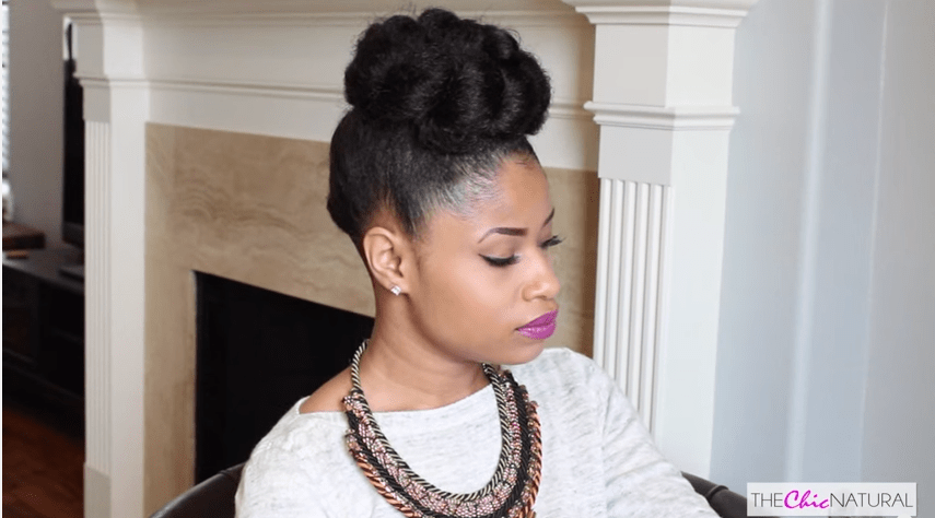 Fabulous French Braided Bun Updo On Natural Hair