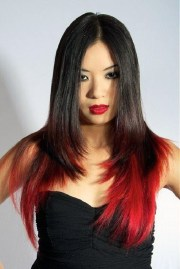 long black hairstyles with red
