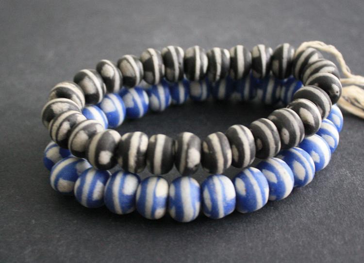 20x25 mm Three West Afrcan Ghana Upscaled Krobo glass bicone beads approx