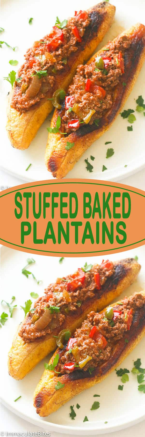 Roasted plantains filled with seasoned ground meat, tomatoes, onions, bell pepper, and spices, topped with cheese for lunch, dinner or even breakfast- very comforting!