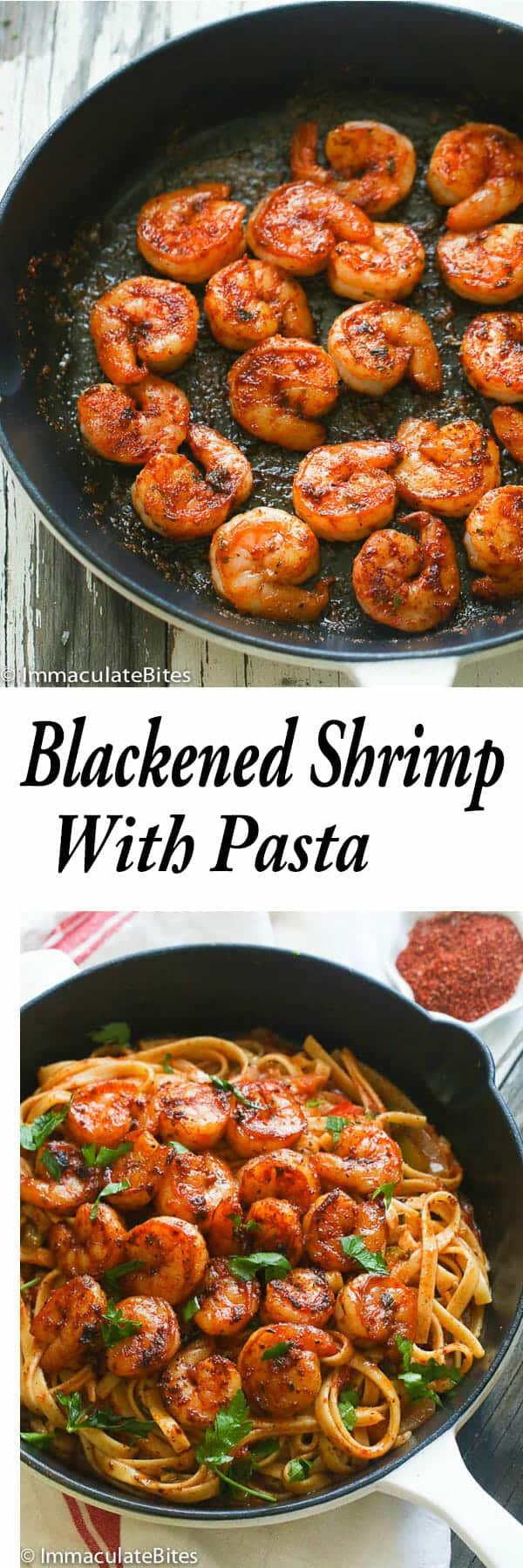 Blackened-shrimp and Pasta
