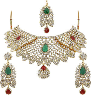 Multicolor Austrian Diamond Choker Necklace Set For Women