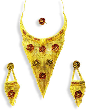 Fancy Gold And Red Necklace Designs