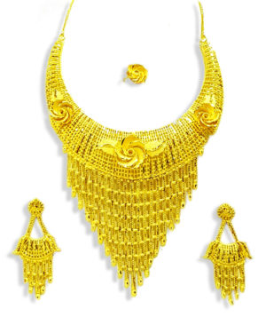 Golden Bridel Look Necklace Designs Set