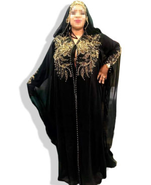 Best Golden Beads Work Chiffon Kaftan And Scarf
