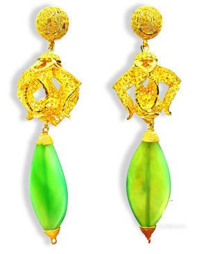 Leaf Shape Beads With Golden Plated Earring