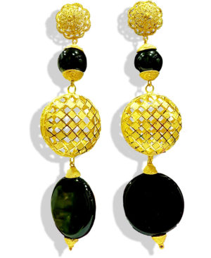 Black Beads With Golden Plated Earring