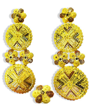 Golden Plated Circular Design Earring Set