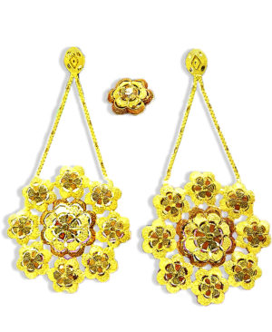 Big Floral Golden Plated Earring Set