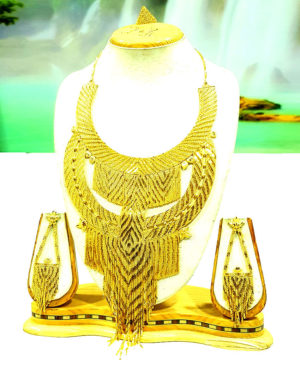 African Bridal Design Golden Plated Necklace Set