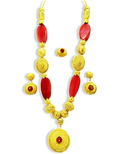 Special Colorful Beads Designer Golden Plated Necklace