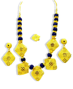 African Beads Jewelry Set Golden Plated Necklace