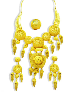 Golden Plated Jhumka Design Necklace Set