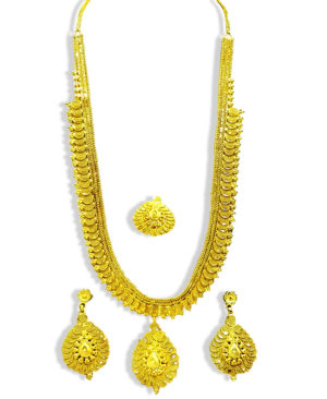 Big Chain Design Golden Plated Necklace Set