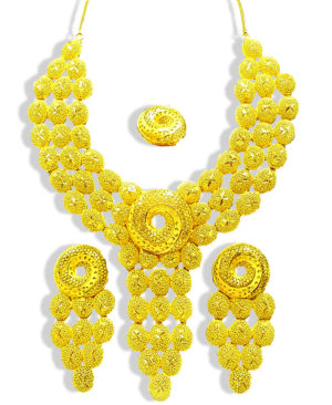 Round Shape Design Golden Plated Necklace Set