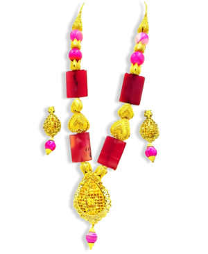Natural Colour Beads Jewelry Set Golden Plated Necklace