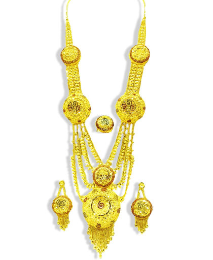 Golden Plated Round Long Necklace Set