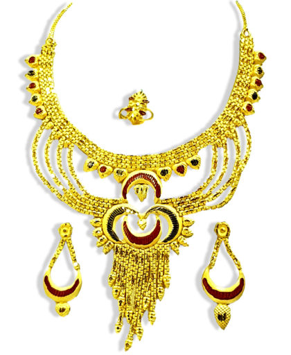 Golden Plated Bling Bridal Design Necklace Set