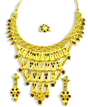 Golden Plated Exclusive Net Design Necklace Set