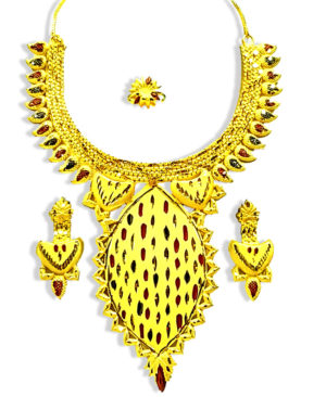 Traditional Design Golden Plated Necklace Set