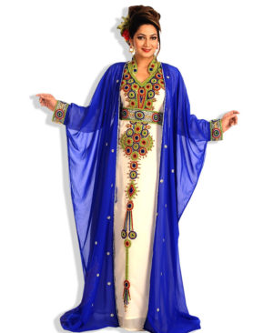 Hand Beaded Fashion Designer Chiffon Kaftan